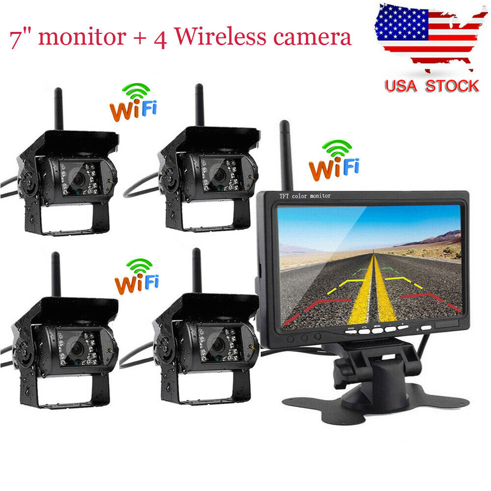 """4x Wireless IR Rear View Back up Camera System for RV Truck 12-24V 7/"""" Monitor"""