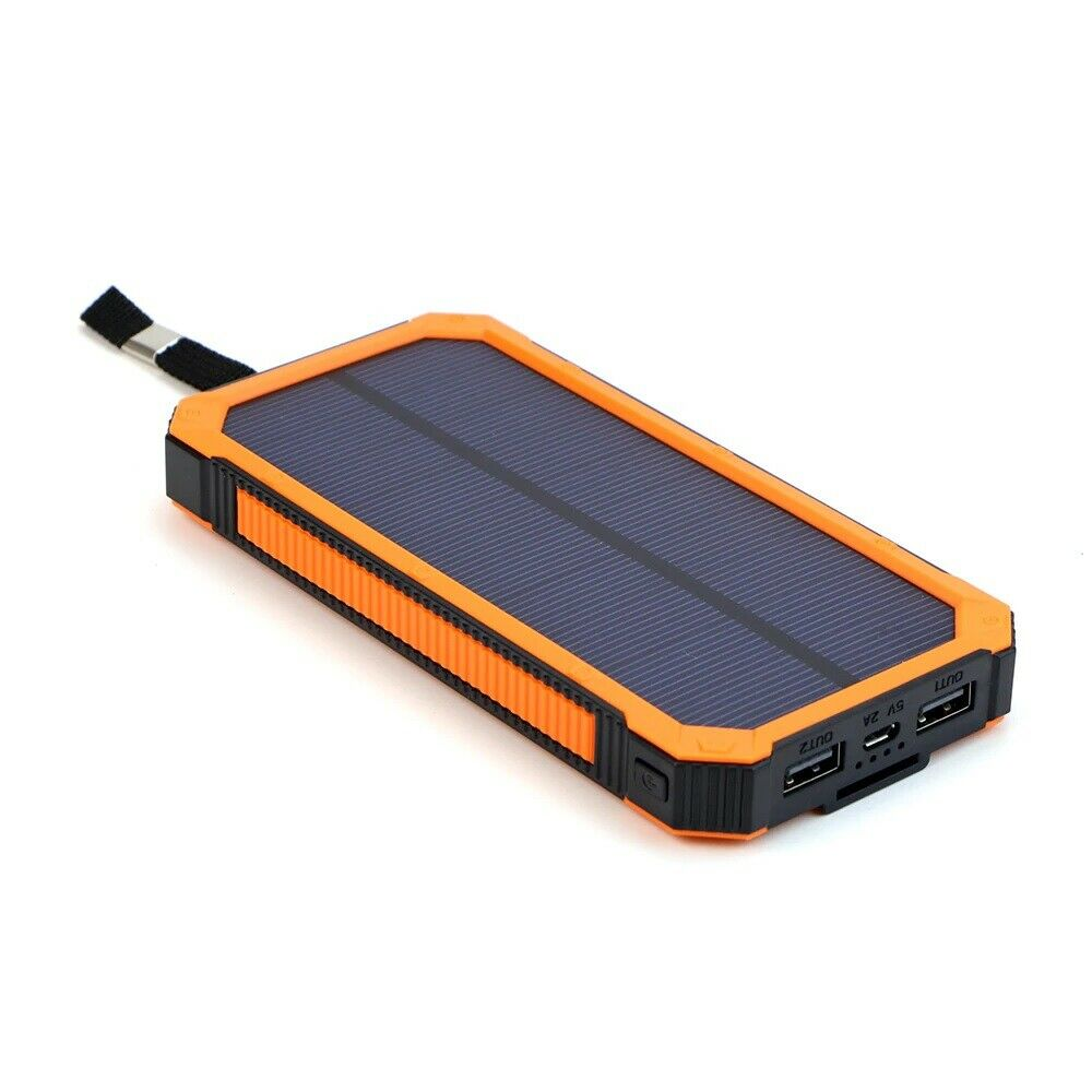 Waterproof 200000mAh Solar Power Bank Orange Solar Battery Charger Dual USB LED Cell Phone Accessories