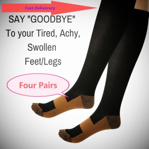 L//XL Unisex Travel Socks Men Women Sock Copper Fit Infused Protection Sport Compression High Socks Size