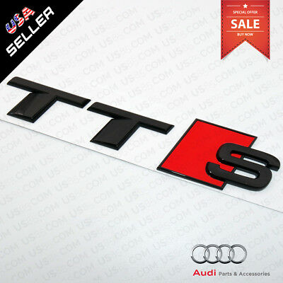 Car 3D ABS Auto Emblem Audi TTS Gloss Black Logo Sticker Rear Tail Badge Trunk
