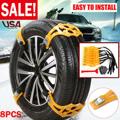 8pcs Winter Car Snow Tire Chains Beef Tendon VAN Wheel Tyre Anti-skid TPU Chain