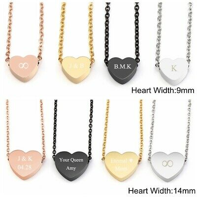 Womens Personalised Text Engraved Stainless Steel Heart Pendant Necklace -