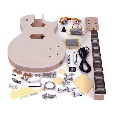 Unfinished LP Style Electric Guitar DIY Kit Top-Solid Mahogany Body Neck Gift Top Mahogany Neck