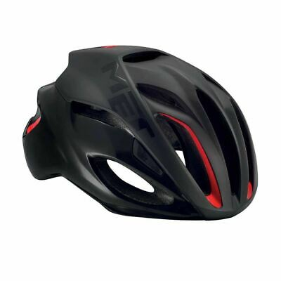 Bicicleta de Carretera Ciclo de Casco Met Rivale - Negro Rojo Brillante...