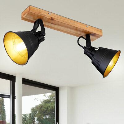 VINTAGE LED Decken Spot Lampe Wohn Zimmer Holz Flur Leuchte verstellbar schwarz