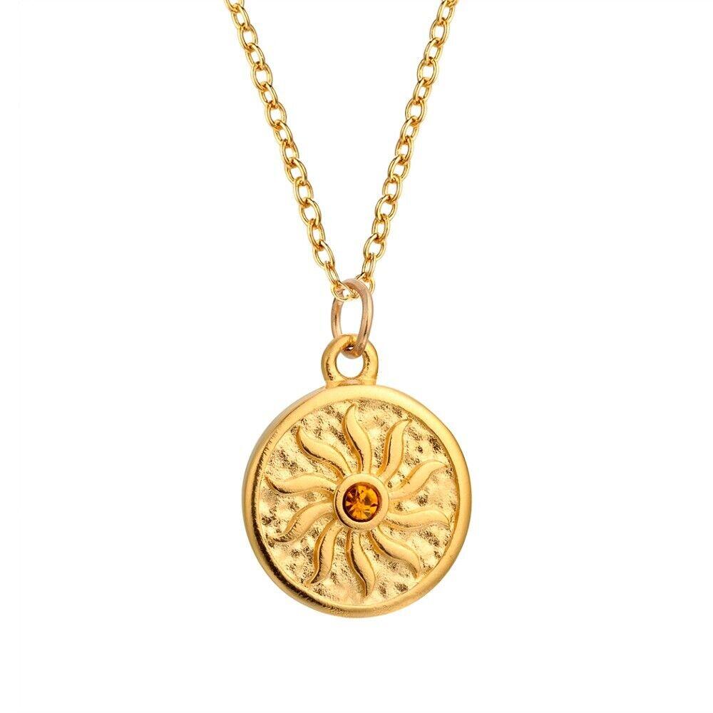 Zircon Round Summer Sun Flower Pendant Necklace Accessories