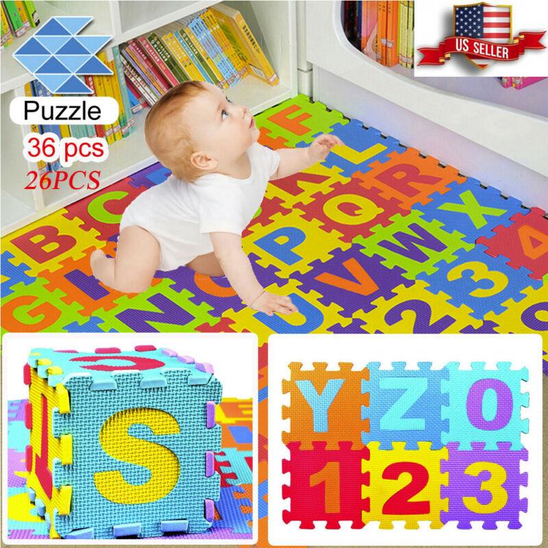 36 Pcs Colorful Alphabet Numbers EVA Floor Play Mat Baby Room ABC Foam Puzzle