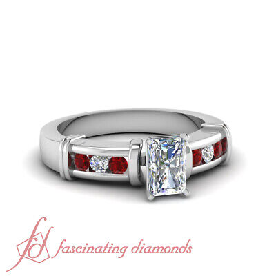 1.25 Ct Radiant Cut SI1 Diamond & Ruby Engagement Ring Channel Set 14K Gold GIA