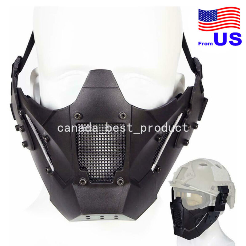 Tactical Airsoft Hunting Paintball Cosplay Protective Half Face Mesh Mask BK USA