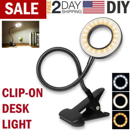 LED Desk Light Reading Lamp Clip On Table Lamp Bed Office Garage Dimmable Lights