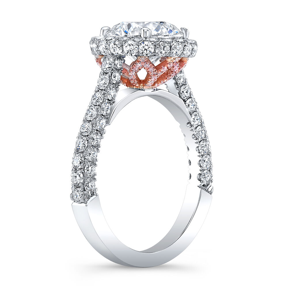 2.50ctw Natural Round Halo 3 Sided Pave Vintage Royal Engagement Ring - GIA