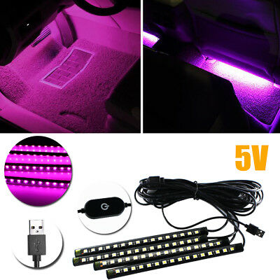 4pcs USB LED Ambient Interior Decoration Styling Lighting Strips 8