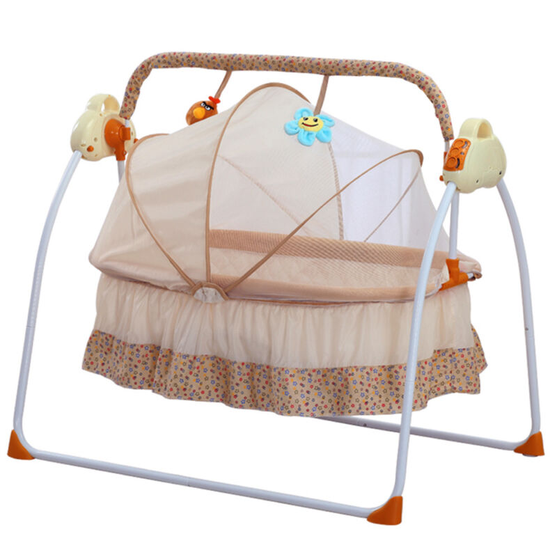 Electric Bassinet Swing Sleeping Bed Baby Crib Music Cradle+Controller