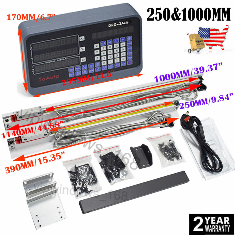 """10"""" 40"""" LINEAR SCALE DIGITAL READOUT 2AXIS DRO DISPLAY KIT FOR MILLING LATHE,US"""
