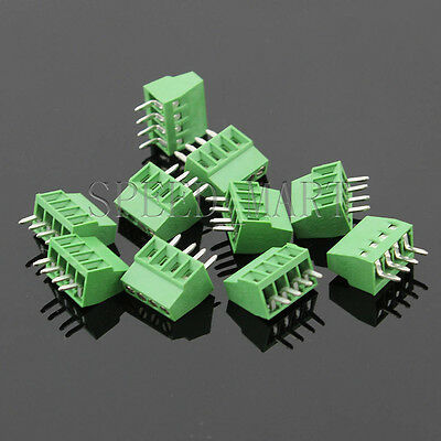10 Pcs 4 Poles4 Pin 2.54mm 0.1 Pcb Universal Screw Terminal Block Connector