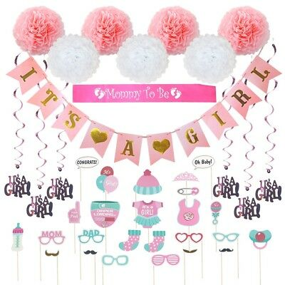 Girl Baby Shower Banner (Baby Shower Decorations 40 pcs Kit for Girl Pink It's a Girl Mommy to be)