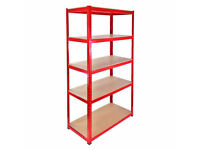 £40 HEAVY DUTY 265kg/shelf RED Storage shelves 180cm x 90cm x 40cm Metal Racking Garage delivery