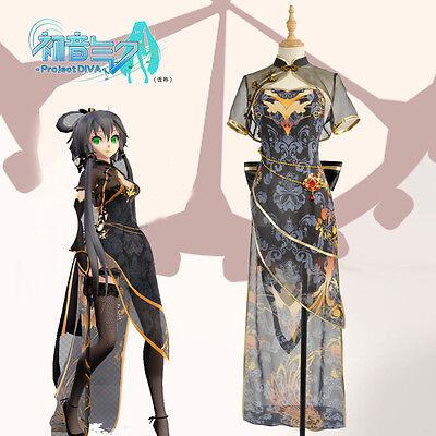 Vocaloid TDA Luo Tianyi Asymmetric Black Canary Cheongsam Dress Cosplay Costumes