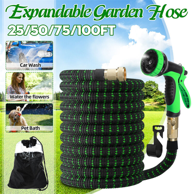 50/75/100 ft Garden Hose Expandable Lightweight Heavy Duty Flexible Water Hose