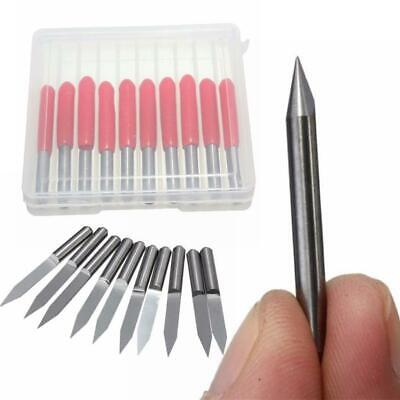 10x 0.1mm 20 Flat V-shape Carbide Pcb Engraving Bits Cnc Router Mill Tool Kit
