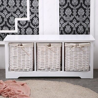 3 Drawer Wood White Shabby Chic Cupboard Cabinet Table w/ Wicker
