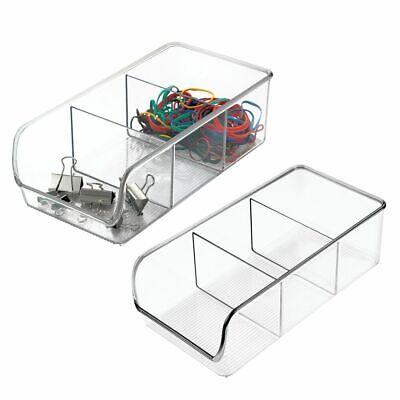 Mdesign Plastic Home Office Desk Drawer Organizer Storage Bin 2 Pack - Clear