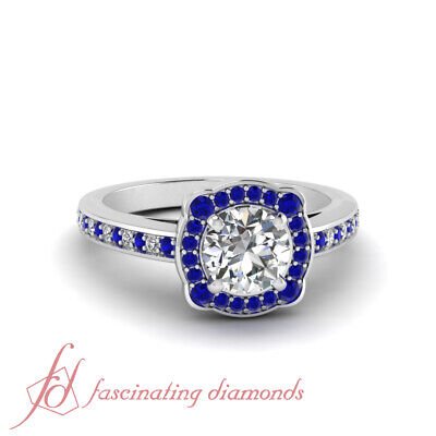 1 CARAT Round Cut Diamond & Blue Sapphire Engagement Ring Pave Set GIA Certified