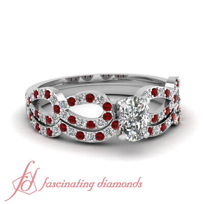.90 Ct Cushion Cut Diamond & Ruby Engagement Rings For Women White Gold VVS2 GIA