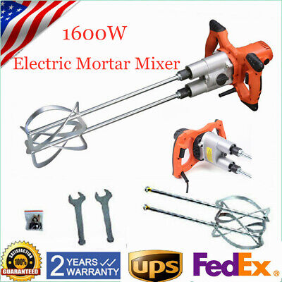 Electric Mortar Mixer Double Paddle Mortar Mixer Dual High Low Gear Speed Paint