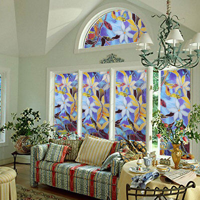 US Stock Static Cling Frosted Stained Flower Glass Window Film Sticker for Decor