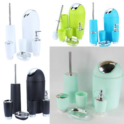 6Pcs Bathroom Accessory Set Bin Soap Dish Dispenser Tumbler Toothbrush Holder US