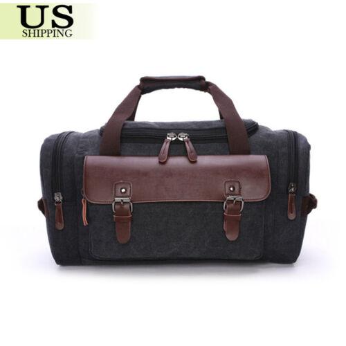 Canvas Leather Travel Bag Men Duffle Tote Bag Carry-On Shoulder Handbag Luggage