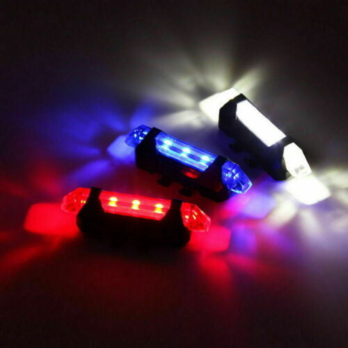 Bike Tail Light Bicycle Rechargeable USB 5 LED Safety Rear Lamp Flashing Wraning
