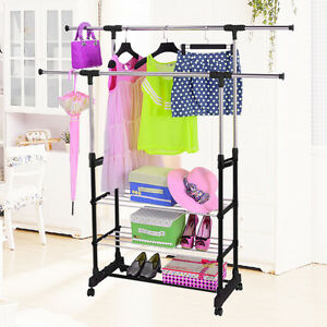 Double Clothes Rail Portable Hanging Garment Dress On Wheels With Shoe Rack