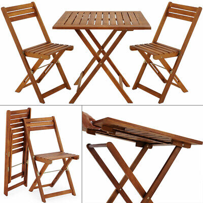 Conjunto de balcón set de 1 mesa y sillas plegables de madera...