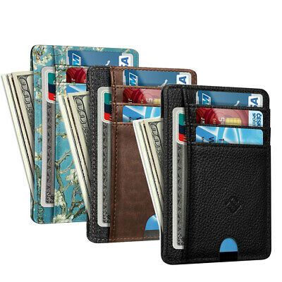 RFID Blocking Mens Leather Slim Wallet Money Credit Card ID Holder 7 Card Slots