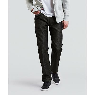 6b1d12de Levis Mens 501 Shrink-To-Fit Jeans Black Rigid W32 L32 Straight Leg 100%  Cotton