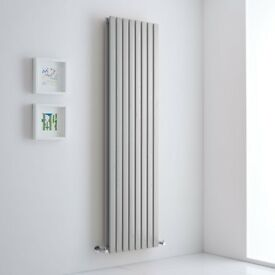 LIGHT GREY VERTICAL DOUBLE SLIM PANEL RADIATOR 1780 X 472MM, New, Boxed
