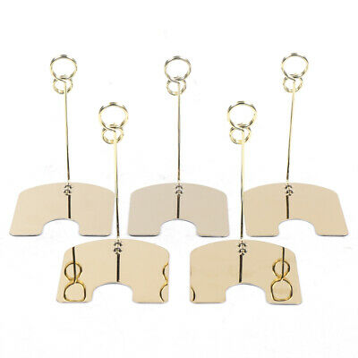 30 8-shape Mini Photo Message Card Clip Stand Memo Clip Holder Gold Durable