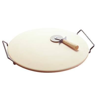 LARGE ROUND 15 PIZZA CERAMIC BAKING STONE SET STEEL RACK CUTTER KNIFE PAN