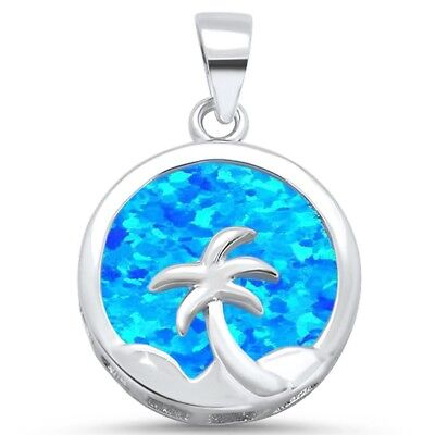 Round Blue Opal with Palm Tree Design .925 Sterling Silver Charm (Blue Opal Palm Tree)