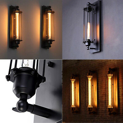 2 Pack Vintage Industrial Metal Cage Wall Lamp Sconce Edison Porch Flute Fixture