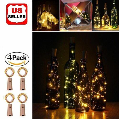 4pcs Wine Bottle Cork Lights Copper Led Light Strips Rope Lamp Kit DIY for Decor Home & Garden