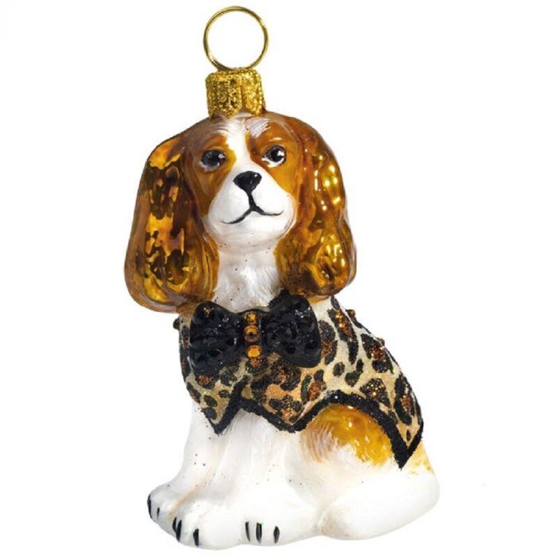 Blenheim Cavalier King Charles Spaniel Leopard Coat Crystal Bow Tie Ornament