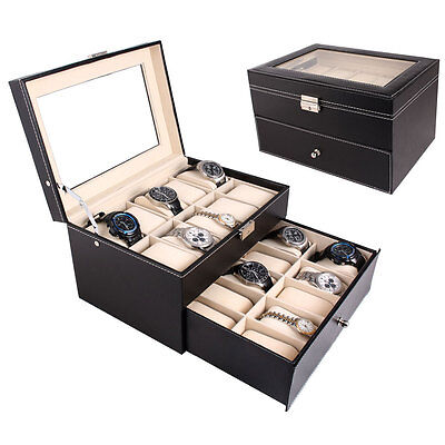 Black Leather 20 Grid Mens Watch Display Case Glass Top Jewerly Box Organizer ()