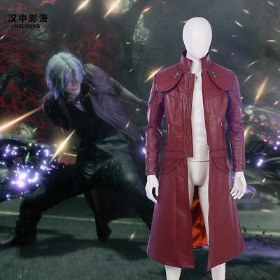 HZYM Devil May Cry V 5 Dante DMC 5 Cosplay Leather Long Jacket Coat Outwear (Devil May Cry 5 Dante Kostüm)