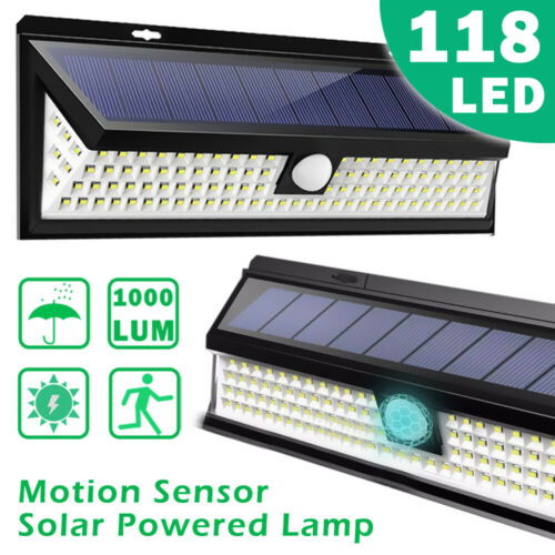 118LED Solar Lights Outdoor Wireless Motion Sensor Wall Yard