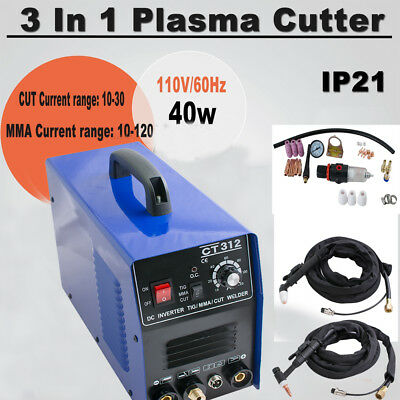 3 In 1 Plasma Cutter Tig Mma Welder Cutting Welding Machine Ct-312 Blue Ac 110v