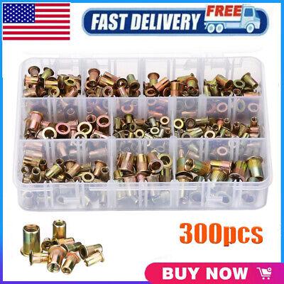 300 Pcs Zinc Steel Rivet Nut Kit Rivnut Nutsert Assort 150pcs Metric150pcs Sae