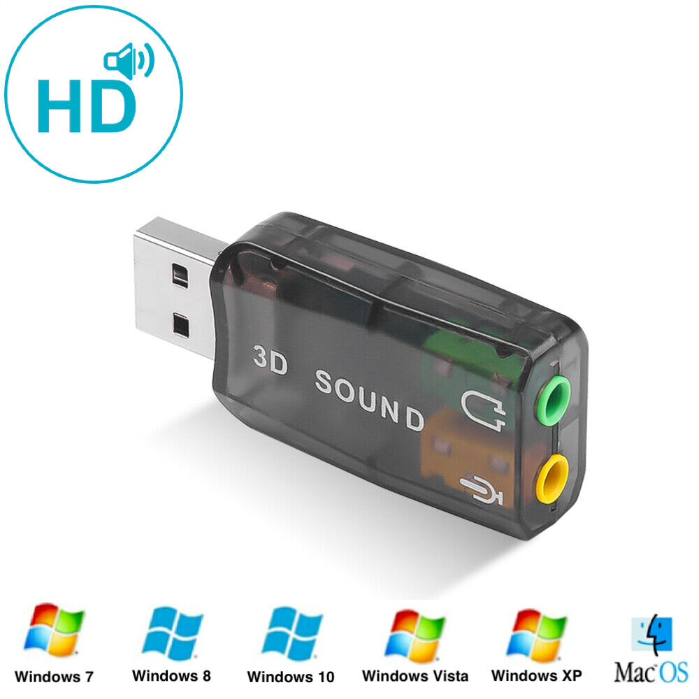 USB MINI Soundkarte 5.1 extern Virtual 3D Surround Computer, Notebook,Tablet, PC